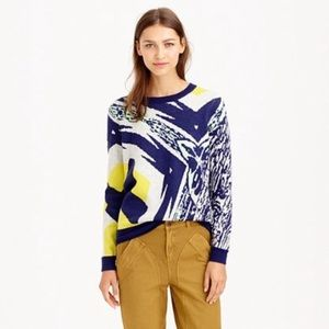 J. Crew Double Knit Abstract Blue Yellow Sweater